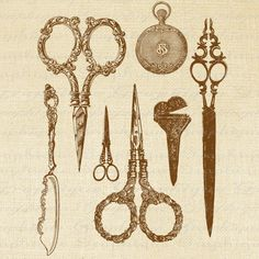 Antique Scissors Vignette Digital Image Download Transfer To Pillows Tote Tea Towels No. 1235 SEPIA. $1.00, via Etsy.