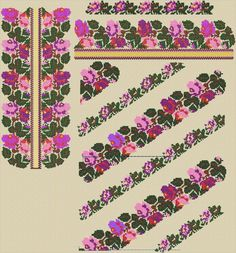 Cross Stitch Borders, Cross Stitch Flowers, Folk Embroidery, Cross Stitch Embroidery, Abaya Pattern, Cross Stitch Cushion, Folk Fashion, Cute Designs, Pattern Fashion