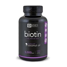 Biotin (High Potency) 5000mcg Per Veggie Softgel; Enhanced with Coconut Oil for better absorption; Supports Hair Growth, Glowing Skin and Strong Nails; 120 Mini-Veggie Softgels; Made In USA.