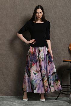 2015 Long skirt women chiffon skirt by YL1dress on Etsy