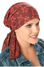 so simple pre-tied scarf for cancer patients in cotton print red pomegranate    Great look!