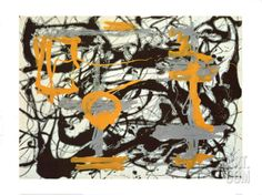 Yellow, Grey, Black Art Print by Jackson Pollock at Art.com