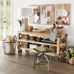 recycled pine wood console table storage - love the wheels Table Storage, Storage Cart, Home Office Design, Floor Design, Wood Table, Decoration, Console Table, Sideboard, Diy Furniture