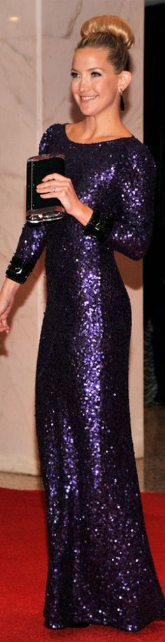 I swear this woman can do no wrong - Kate Hudson red carpet long dress purple glitter formal fashion elegant