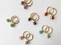 Your place to buy and sell all things handmade Mini Hoop Earrings, Bridal Earrings, Boho Earrings, Gemstone Earrings, Etsy Earrings, Statement Earrings, Earrings Handmade, Golden Earrings, Turquoise Gemstone