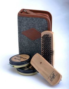 Help him put his best foot forward with this shoe shine kit; $25 at Sedoni Gallery, Huntington.