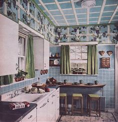 1949 Kitchen with Grape Arbor by American Vintage Home Vintage Room, Vintage Kitchen, Vintage Decor, 1950s Kitchen, 1940s Decor, Kitchen Sink, House Design Photos, Cool House Designs, 1940s Home