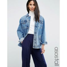 ASOS TALL Denim Girlfriend Jacket in Astrid Mid Stonewash Blue (440 CNY) ❤ liked on Polyvore featuring outerwear, jackets, blue, blue jackets, pocket jacket, asos jackets, denim jacket and tall jackets