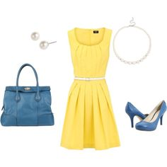 Summer Wedding Outfit...love the blue and yellow together