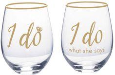 Mikasa Stemless I Do I Do What She Says Set Of 2 Wine Glasses