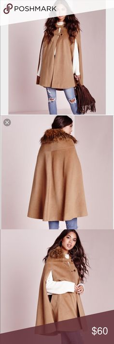 Missguided Wool Cape with fur collar. US size 4 New with tags! Super soft material. Missguided Jackets & Coats Capes