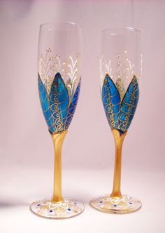 Hand Painted Champagne Glasses, Blue Wedding Painted Toasting Flutes