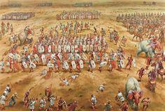 Batalla de Zama con los elefantes escapando.