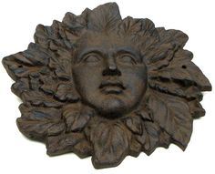 Large Rust Cast Iron Woman Face - This absolutely stunning piece of art is made of solid cast iron, has two holes on each side for hanging. Old Mountain Cast Iron, Cast Iron Rust, Wall Sculptures, Lion Sculpture, Victorian Design, American Indian Art, Green Man, Metal Casting, Wall Plaques