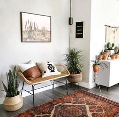 Stylish bench with throw pillows, vintage rug, belly baskets and plants 🌿