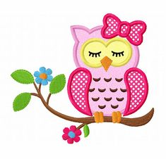 Instant Download Sleeping Girl Owl On Branch Applique Machine Embroidery Design…