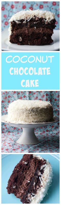 Coconut Chocolate Cake - two layers of an easy to make chocolate cake, with a whipped chocolate ganache frosting, and then frosted in a coconut buttercream and flaky coconut! Make this for Easter! From Boston Girl Bakes