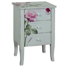 Painted and Decorated Bedside Table.