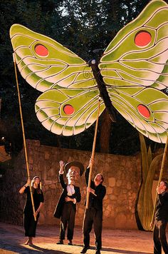 Performance street art puppetry butterfly