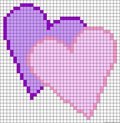 Twin hearts, knitting crochet beads etc Cross Stitch Heart, Beaded Cross Stitch, Cross Stitch Embroidery, Bead Loom Patterns, Perler Patterns, Beading Patterns, Crochet Pixel, Crochet Chart, Cross Stitch Designs