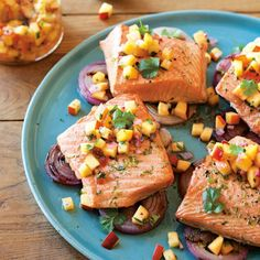 Grilled salmon gets a zesty kick from bright nectarine salsa with cilantro, red onions & jalapeños. Grilled Salmon and Red Onions with Nectarine Salsa Fish Recipes, Seafood Recipes, Healthy Recipes, Grill Recipes, Whole30 Recipes, Vegetarian Recipes, Recipies, Dinner Recipes, Fish Dishes
