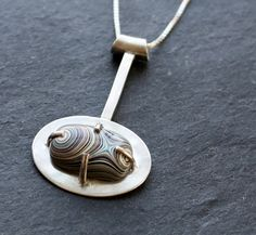 Fordite and Silver Prong Set Necklace