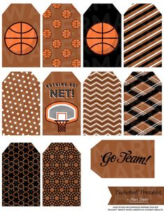 Need these basketball label printables for the party! // by HuesPrintables #tags #labels #signs #birthday #boy #babyshower #decorations #dessert #table #girl #diy #paper #decor #cupcake #topper #classroom #printable #sports #athlete #basketball #bball #hoops #marchmadness #nba #team #player #theme #championship #brown