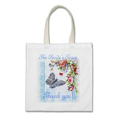 Flutter Bug Thank You Tote for the Bride's Team. #wedding #bride #bridesmaid #wedding_gift