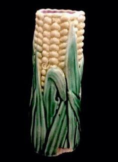 Antique Majolica Corn-On-The-Cob Bud Vase