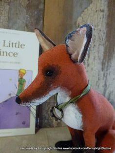 Fox inspired by The Little Prince: vintage style, soft sculpture, hand painted, fabric art doll animal (fox) by Pennybright Studios.
