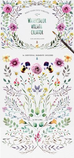 Watercolour elements. Wreath creator by Smotrivnebo on Creative Market