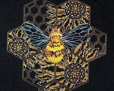 Bead embroidery cross stitch kits ribbon by needlepointkit on Etsy Beaded Cross Stitch, Counted Cross Stitch Kits, Modern Cross Stitch, Cross Stitch Embroidery, Cross Stitch Patterns, Ribbon Embroidery, Embroidery Patterns, Needlepoint Kits, Cross Stitching
