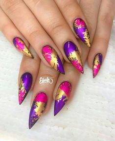 Beautiful Nail Designs, Beautiful Nail Art, Gorgeous Nails, Pretty Nails, Glam Nails, Dope Nails, Foil Nail Designs, Secret Nails, Crazy Nail Art