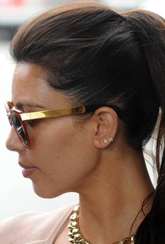 Sugar Bean Jewelry Single Initial Earring Stud in Gold as Seen On Kim Kardashian