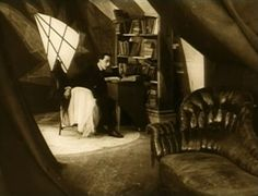 The Cabinet of Dr. Caligari (1920)  I wish I had a whole house done up in German Expressionism style...