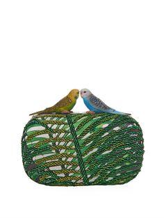 Sarah's Bag Love Bird beaded and satin clutch