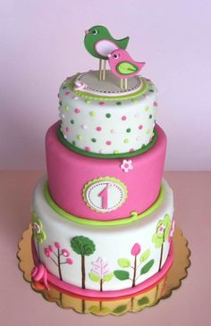 Pink and green birdie cake By bubolinka on CakeCentral.com