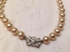 Vintage 1950's Knotted Faux Pearl Necklace Signed JAPAN With Beautiful Old Clasp on Etsy, $25.00