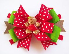 Christmas Gingerbread Girl Boutique Hair Bow