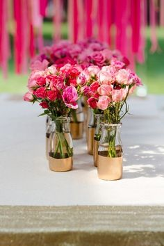 Centerpieces / Gold dipped vases