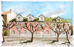 Gu Bragh (©2014 artmajeur.com/gubragh) Bueu, l'ancien siège de l'entreprise Masso Aquarelle sur papier Clairefontaine, grain torchon, 300g