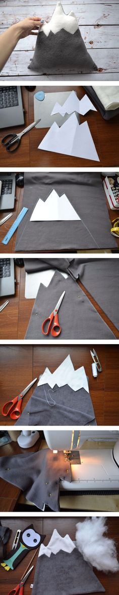 "How to sew pillow ""Mountain"". Click on image to see step-by-step tutorial"