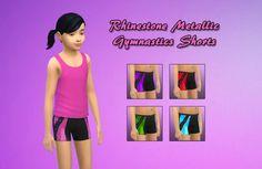 Rhinestone Metallic Gymnastics Shorts by FrankVjecy at Mod The Sims via Sims 4 Updates