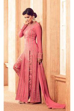 Festival Wear Peach Satin Slit Salwar Suit - 4505