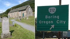 The Church at Dull and road sign for Boring, Oregon