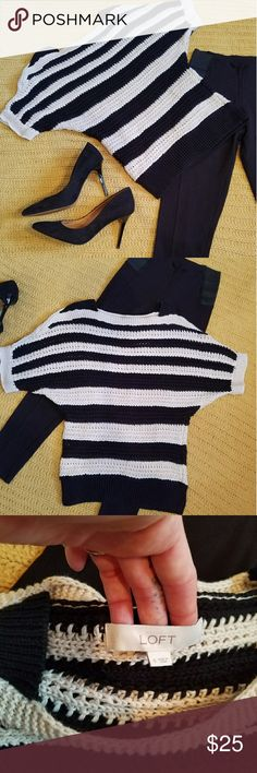 LOFT knit shirt Black and white LOFT knitted sweater shirt. Perfect condition. Size small LOFT Tops