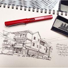 Street 136 Phnom Penh Cambodia #sketch #sketches #sketching #sketchbook #FountainPen #Lamy #Cambodia #GoAheadMoment