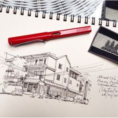 Street 136 Phnom Penh Cambodia #sketch #sketches #sketching #sketchbook #FountainPen #Lamy #Cambodia #GoAheadMoment