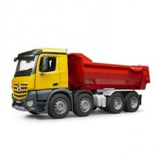 Bruder MB Arocs Halfpipe Dump Truck Toy Vehicle $78.97 Bruder's MB Halfpipe dump truck comes with realistic look, multiple functional features, and highest toy quality. http://www.educationaltoysplanet.com/bruder-toy-dump-truck-mb-arocs-halfpipe-red-yellow-dump-truck.html
