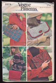 Vogue Patterns 8974 Handbags Lined by OutoftheConex on Etsy